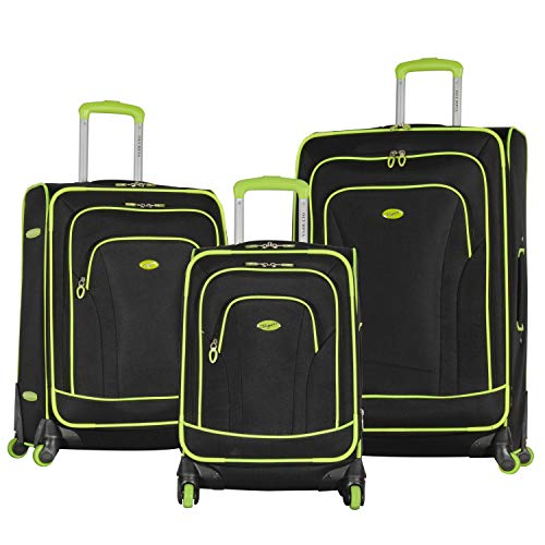 Olympia Santa Fe 3-Piece Exp. Luggage Set, BLACK+LIME, One Size