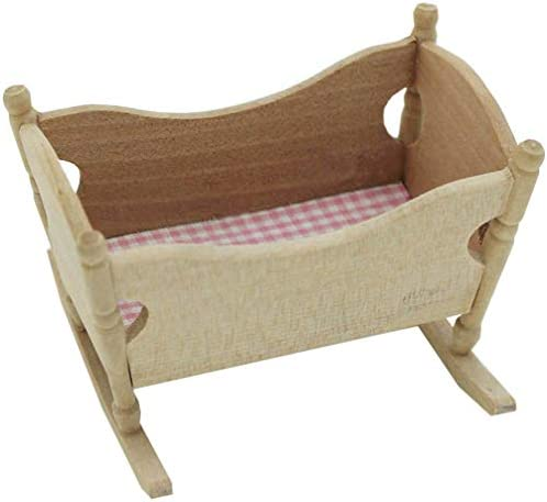 NUOBESTY Dollhouse Miniature Rocking Cradle Doll Crib Bed Simulation Princess Doll Bed Play product image