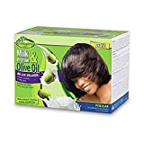 Milk Protein & Olive Oil No-Lye Hair Relaxer Regular Strength Kit - Conditions, Strengthens, Smooths, and Relaxes Thin to Medium Hair Gently with Olive Oil - SofnFree GroHealthy - Single