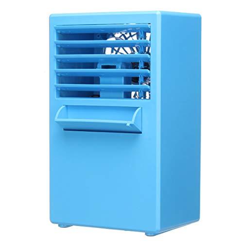 3 couleurs 24V 3 Vitesse de fichier 5 Ventilateur de feuilles Humidification Spray mini climatisation (Color : Blue)