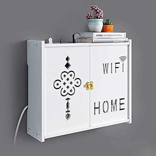Cajas Almacenamiento Enrutador, Caja Almacenamiento Para Enrutador Wifi Madera, Caja De Almacenamiento Pared Wifi Almacenamiento Gabinete TV Almacenamiento Punch-Libre Router White,35.5 * 10.5 * 30cm