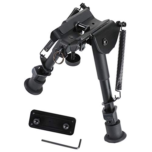 Pinty Tactical Rifle Bipod Adjustable Spring Return Adapter System Black Anodized Aircraft Grade Aluminum Construction Adjustable 6-9 Inch Height