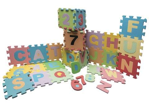 Alphabet and Numbers Foam Puzzle Mat Includes 36 Interlocking Tiles in Pastel Colors