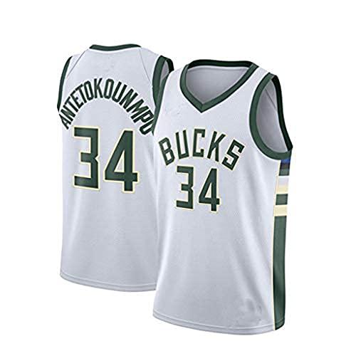 YCQQ Milwaukee Bucks Giannis Antetokounmpo #34 Chaleco de Hombre, Jersey de Ventilador, Camiseta Suelta de Atletismo de Verano Transpirable Adecuada para jóvenes(Size:M,Color:G4)