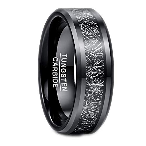 N-A Black Silver Color Inlaid Imitation Vermiculite Tungsten Steel Ring Black Finger Ring for Men's Business Wedding Party Jewelry