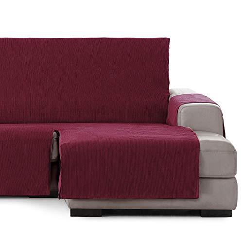 Vipalia Cubre Sofa chaiselongue Ajustable. Funda de Sofa Chaise Longue Brazo Derecho Largo. Protector Antimanchas. Color Rojo. Chaise Largo Derecha