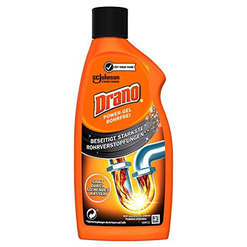 Drano (Mr Muscle) Power Gel Rohrfrei Abflussreiniger, Rohrreiniger, für Küche und Bad, entfernt Verstopfungen, 1er Pack (1 x 500 ml)