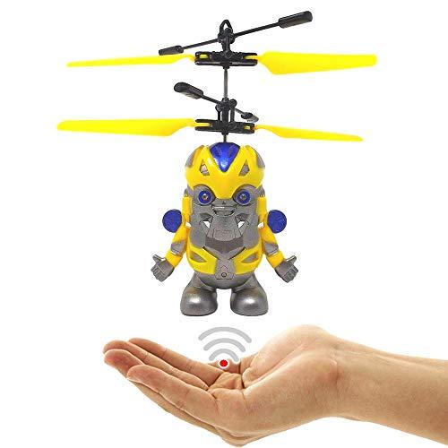 Fliegender Transformer Roboter Hubschrauber Drohne Transfom Helicopter Bumblebee Drone mit Sensorsteuerung Einfach zu fliegen per Gestiksteuerung Ferngesteuerter Transformer Geschenk zu Weihnachten