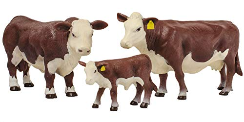 Little Buster Toys Hereford Family Set: Hereford Cow  Bull  and Calf  1/16th Scale