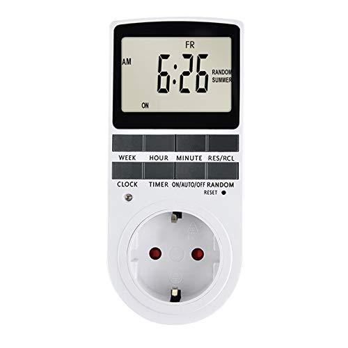 Pilvnar Temporizador Enchufe Digital Programable, Pantalla LCD 10 programas de conmutación programables 24 Horas y 7 días Conector Temporizador de Ahorro de energía para aparatos eléctricos