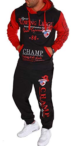 RMK Herren Fitness Jogginganzug Sportanzug Trainingsanzug Champ A.1005 (S, Schwarz-Rot)