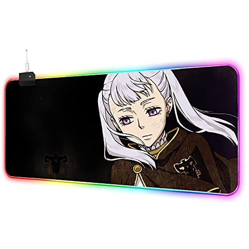 Cartoon Girl with Gray Hair RGB Gaming Mouse Pad Led Extended Soft Mousepad with 14 Lighting Mode,Large Mouse Pad Gaming with No Slip Rubber Base Large Gaming Mouse Pads XL (11.8x27.5inch)