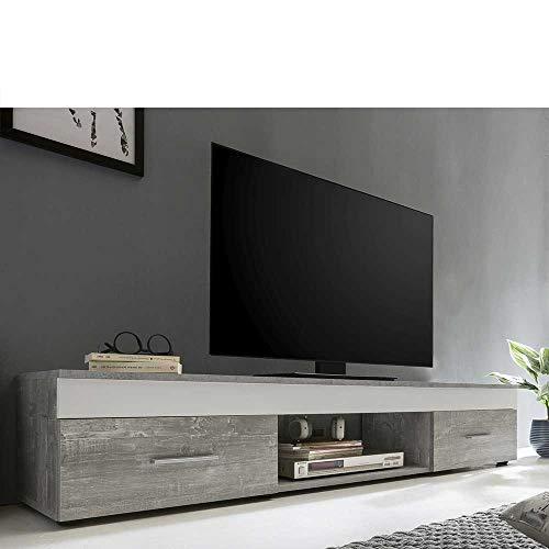 Pharao24 TV Unterschrank in Weiß Beton Grau 160 cm breit