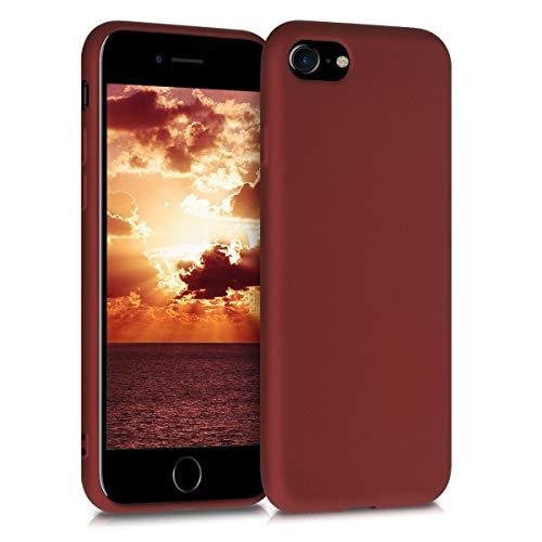 kwmobile Cover Compatibile con Apple iPhone 7/8 / SE (2020) - Protezione Back Case Silicone TPU Effetto Metallizzato - Custodia Morbida Rubino Metallico