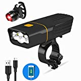 BESTSUN USB Rechargeable Bicycle Light, Super Bright 3 LED 3000 Lumen Bike Front
