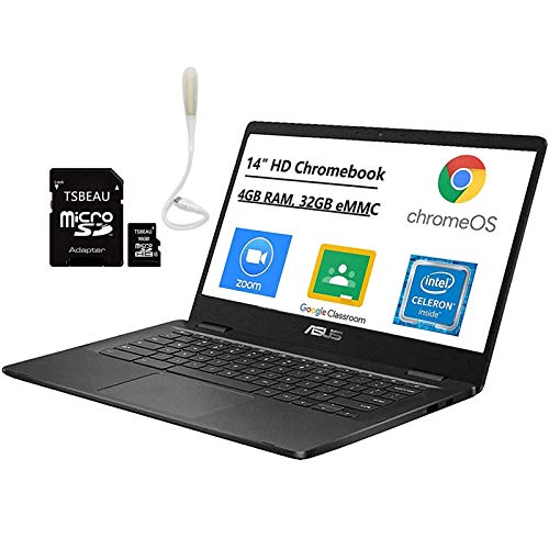 ASUS Chromebook 14' HD Thin & Light Laptop Computer, Intel Celeron N3350 up to 2.4GHz, 4GB LPDDR4...