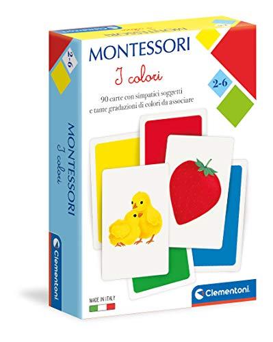 Clementoni Carte Colori Montessori 2 Anni (Versione in Italiano), Gioco educativo-Made in Italy, Multicolore, 16333