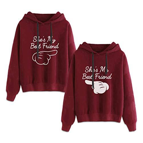 Beste Freunde Kapuzenpullis für Zwei Damen Best Friends Pullover Damen BFF Sweatshirts Sister Pulli Hoodie mit Kapuze 2 stücke(Rot,Rot-Finger-XS+weiß-Finger-XS)