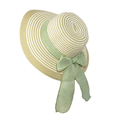 Miuno Miuno® Damen weich Sonnenhut Partyhut Stroh Hut Schleife H51065 (grün)