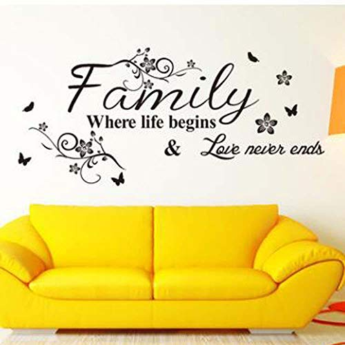 Wall Stickers Art Family Beautiful Flower Wall Stickers Home Words Decor Wall Sticker Poster PVC Wallpaper