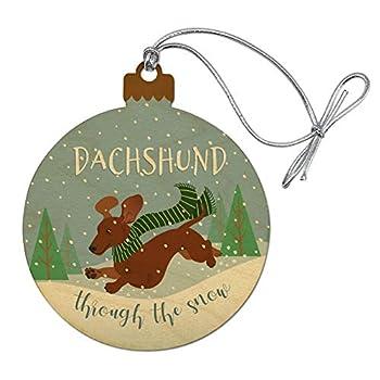 GRAPHICS & MORE Dachshund Dashing Through The Snow Winter Christmas Wood Christmas Tree Holiday Ornament