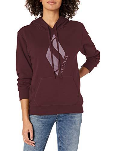 Skechers Women's Diamond Logo Pullover Hoodie Sweatshirt, Wine Tasting, X-Large