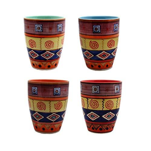 Gall&Zick Tasse Set/4 Teetasse Becher Kaffeebecher Kaffeetasse Teetasse Geschirr Keramik Bemalt Bunt