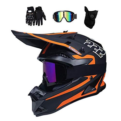 Motocross Helm Matt Schwarz, MR-222 Motorrad Crosshelm Fullface Enduro MTB Helm Cross Helm Motorradhelm Damen Herren mit Brille/Handschuhe/Maske, 2 Stile Verfügbar,Orange,M