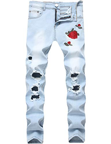 Nutriangee Men's Floral Jeans, Ripped Skinny Distressed Destroyed Slim Fit Stretch Rose Embroidered Pants Light Blue 28