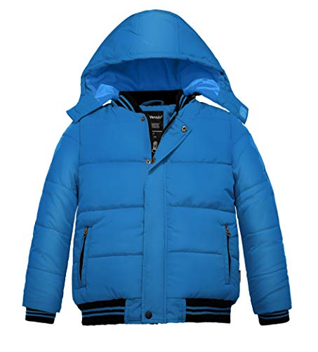 Wantdo Boy's Cotton Winter Coat with Removable Hood Puffer Jacket(Blue, 4/5)