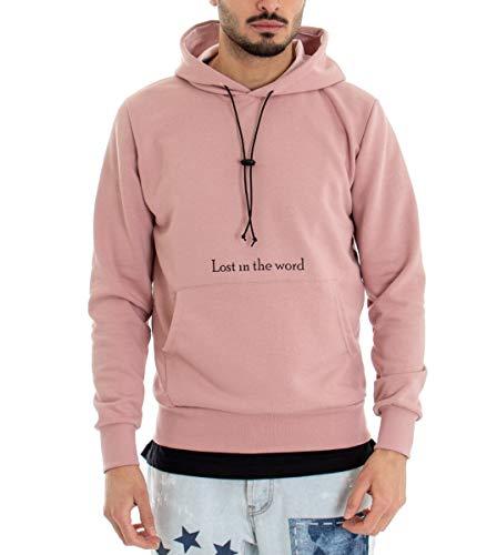 Giosal Felpa Uomo con Cappuccio Stampa Scritta Tasca Tinta Unita Rosa Rosa-S