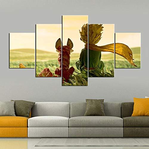 5 Panel/Set Lienzos Handart Cuadro En Lienzo Cinco Partes HD Clásico Óleo Impresiones Decorativas Cartel Arte Pared Pinturas Hogar Lienzo HD Los Cuentos De Hadas El Principito Posters