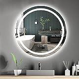 Amorho 70cm Redondo Espejo Baño Espejo de Pared Espejo Colgante Dormitorio Función Antivaho con Luz LED Interruptor Táctil 16 Temperatura de Color Ajustable