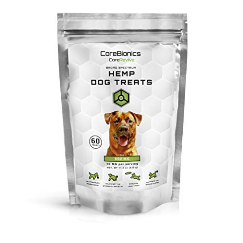 CoreBionics Hemp Dog Treats - 600mg (60ct) - Support for Joint Flexibility and Mobility, Nervousness, Hyperactivity and Environmentally-Induced Stress