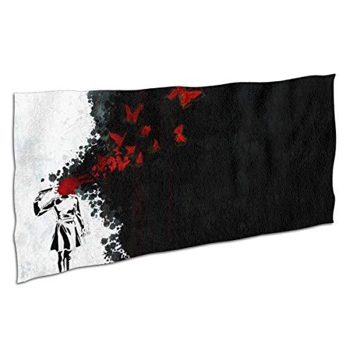 Candi-Shop Toallas de baño Premium Toallas de Mano para el hogar, Gimnasio de Playa - Mariposa de Sangre roja Toallas de Anime Oscuro, Toalla de baño Toalla de baño