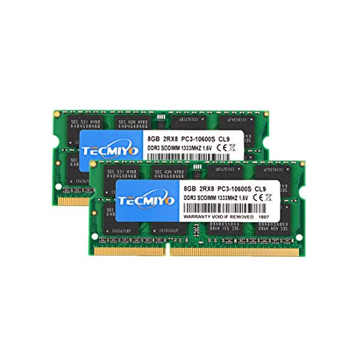 TECMIYO Compatible with Apple 16GB Kit (2x8GB) DDR3 1333MHz PC3-10600 SODIMM Memory Upgrade Compatible with MacBook Pro, iMac, Mac Mini