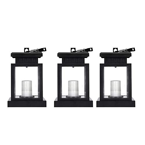 Fransande 3Pcs Waterproof LED Solar Garden Light Flickering Flameless Candle Outdoor Lighting Hanging Smokeless Solar Lantern