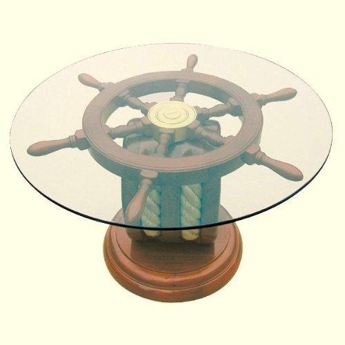 magicaldeco Maritimer Tisch- Beistelltisch der besonderen Art- Holz und Glas Ø 65 cm