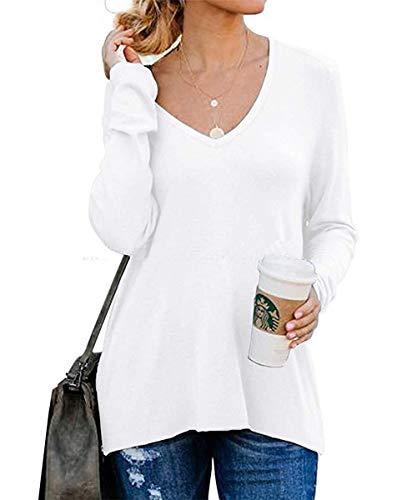 Lantch Damen T-Shirts Langarm Pullover Shirts Casual Oberteil V Ausschnitt Sweatshirt Lose Tops(wh,L