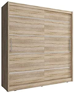 CHECO HOME AND GARDEN 2-DAY PREMIUM SHIPPING AVAILABLE SONOMA OAK 180 cm WIDE SLIDING 2 DOORS WARDROBE MAJA ALU
