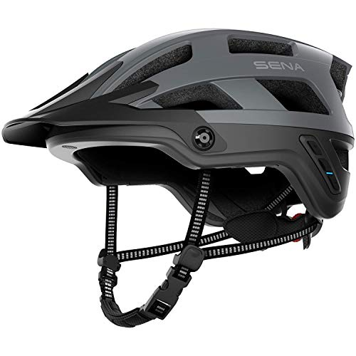 Sena Adult M1-MG00M Smart Mountainbike-Helm EVO (M1, Mattgrau, M), Mattweiß, M