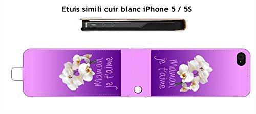 Fundas de piel color blanco iPhone 5/5S/5Se Design Maman Je T 'Aime orquídeas