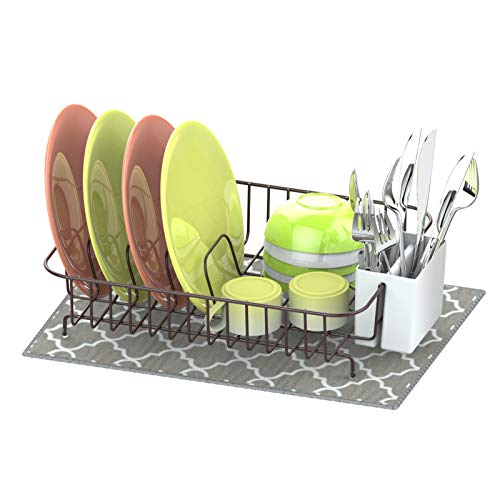 Dish Drying Rack, Veckle Dish Rack with Microfiber Dish Drainer Mat, Utensil Holder, Cutting Board Holder Dish Wire Rack for Kitchen Countertop, Bronze