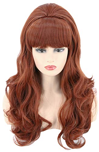 Topcosplay 80s Women Wigs Brown Beehive Wigs Long Wavy Halloween Costume Wigs