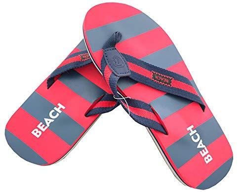 Ultrapower Flip-On Zehentrenner für Damen und Herren   Flip   Badelatschen   Strandschuhe   Zehenstegpantolette (Dk-Blau/Rot, 37)