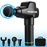 Muscle Massage Gun, HiGoing Muscle Massager Deep Tissue Percussion Handheld Massager Portable Cordless Electric Massager Sports Drill with 4 Heads for Relieving Muscle Pain 20 Speed