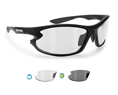 BERTONI Gafas de Sol Deportivas Polarizadas Fotocromaticas para Deporte Ciclismo Moto Pesca Esqui Golf Running - 676 Italy para Hombre y Mujer (Negro/Lens Fotocromatica)
