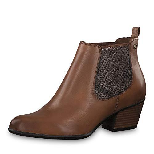 Tamaris Damen Stiefeletten 25701-23, Frauen Chelsea Boots, Schlupfstiefel hoch Damen Frauen weibliche Lady Ladies feminin Women,Muscat,38 EU / 5 UK