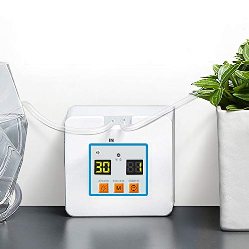KiKiHeim Automatic Watering System, Automatic Drip Irrigation Kit Self Watering System with Timer, USB Power Operation & 30-Day Programming Vacation Plant Watering Devices for Potted Plant