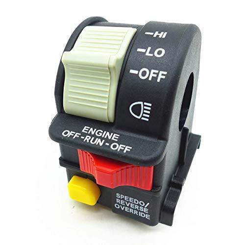 BXU-BG Interruptor de ajuste del manillar de luz for 2001-2005 Polaris Sportsman 4010591 Hi/Lo/OFF for ATV/motocicleta/moto de nieve/o acuática Rayo de luz/Kill/Interruptor de parada pie